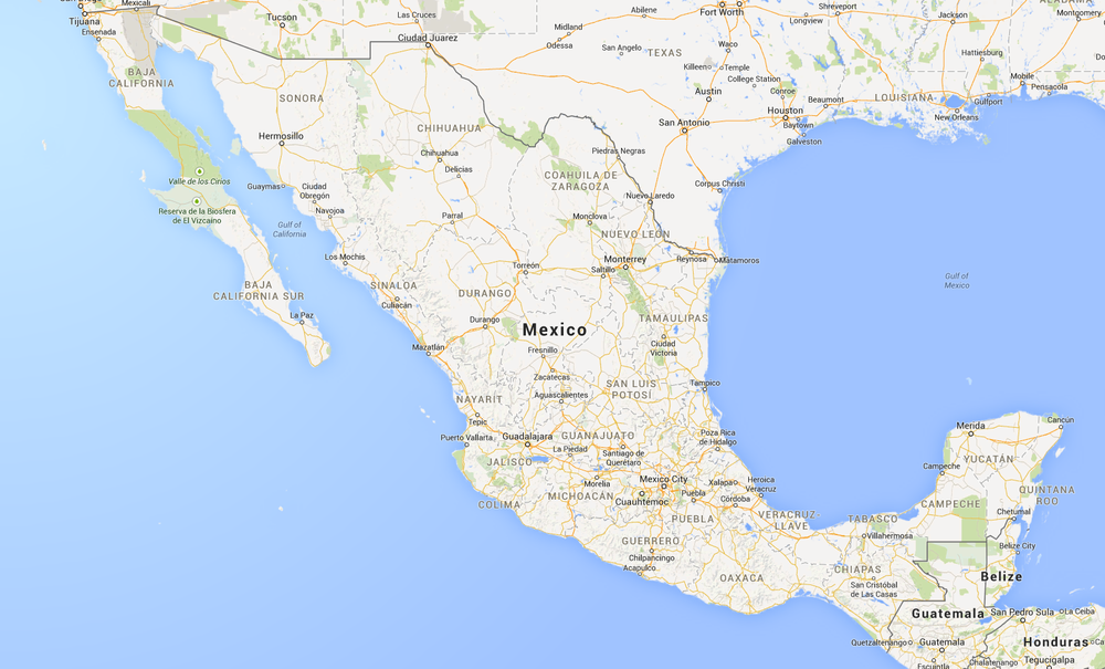 Map of Mexico from Google Maps