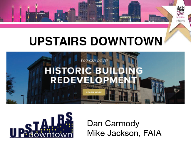 Section 1 - Introduction to Upstairs Downtown - Main Street Now 2018