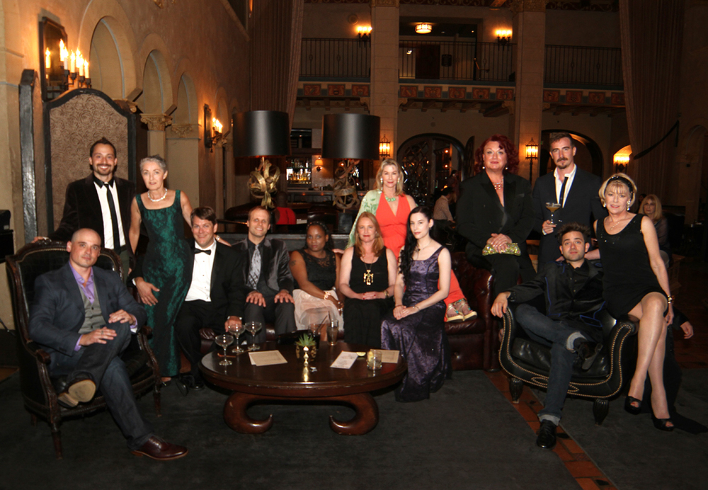 TALES OF POE Cast & Crew sit for a group picture at a pre-party @ the Hollywood Roosevelt Hotel- L to R - Bart Mastronardi, Azmi Mert Erdem, Katherine O'Sullivan, Tom Burns, Michael Mark, Nicole Alexis Kane, Amy Steel, Caroline Williams, Bette Cassatt, Alan Rowe Kelly, Brewster McCall, Michael Varrati & Adrienne King,