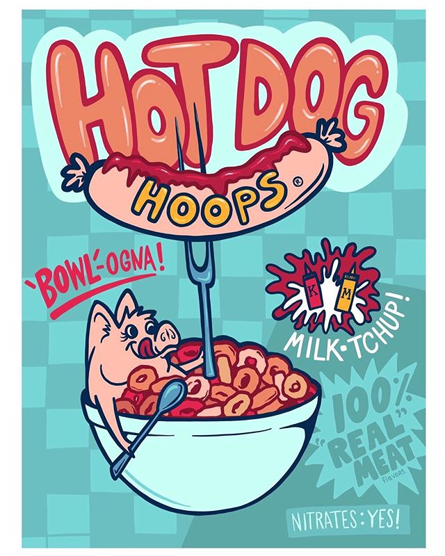 Good morning! 🌭 How about a bowl of Hotdog Hoops? 🌭 Inspired by the savory meat-flavor cereals I saw at the grocery store. . . . . .  #hotdogs #cereal #breakfastideas #fakenews #advertisment #illustration #cartoon #foodart #adobedraw