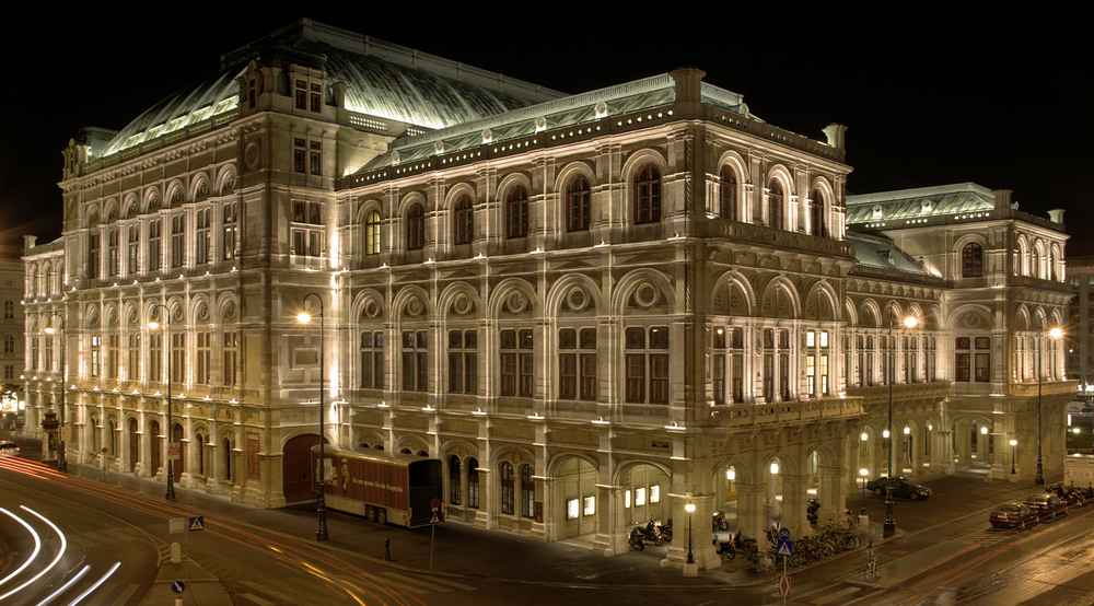 Night view of the Vienna State Opera
