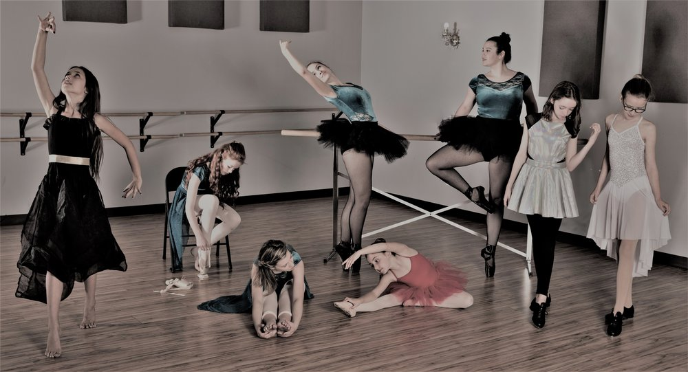 DancEast Company members Lily, Robin August, Cameron, Lucy, Bridget, Timberlake, Mae and Nora; Photo by Eyeris Photography