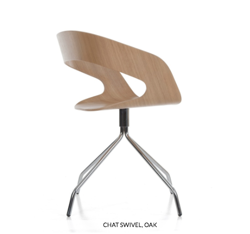"""Chat"" swivel chair, designed by Jakob Wagner of Denmark."
