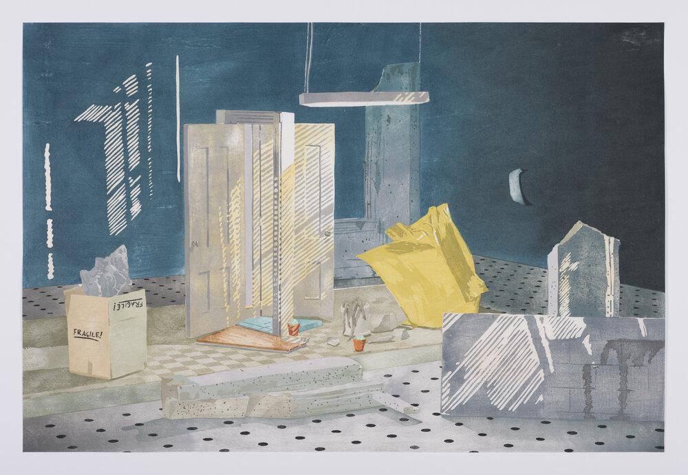 "Monolith, 2016, Japanese Woodblock Print, 20"" x 30"""
