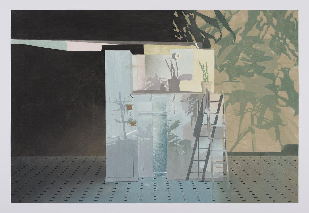 "My Room/Her Room, 2017, Japanese Woodblock Print, 20"" x 30"""