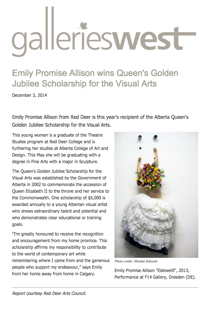 Emily Promise Allison Wins Queen's Golden Jubilee Scholarship for Visual Arts