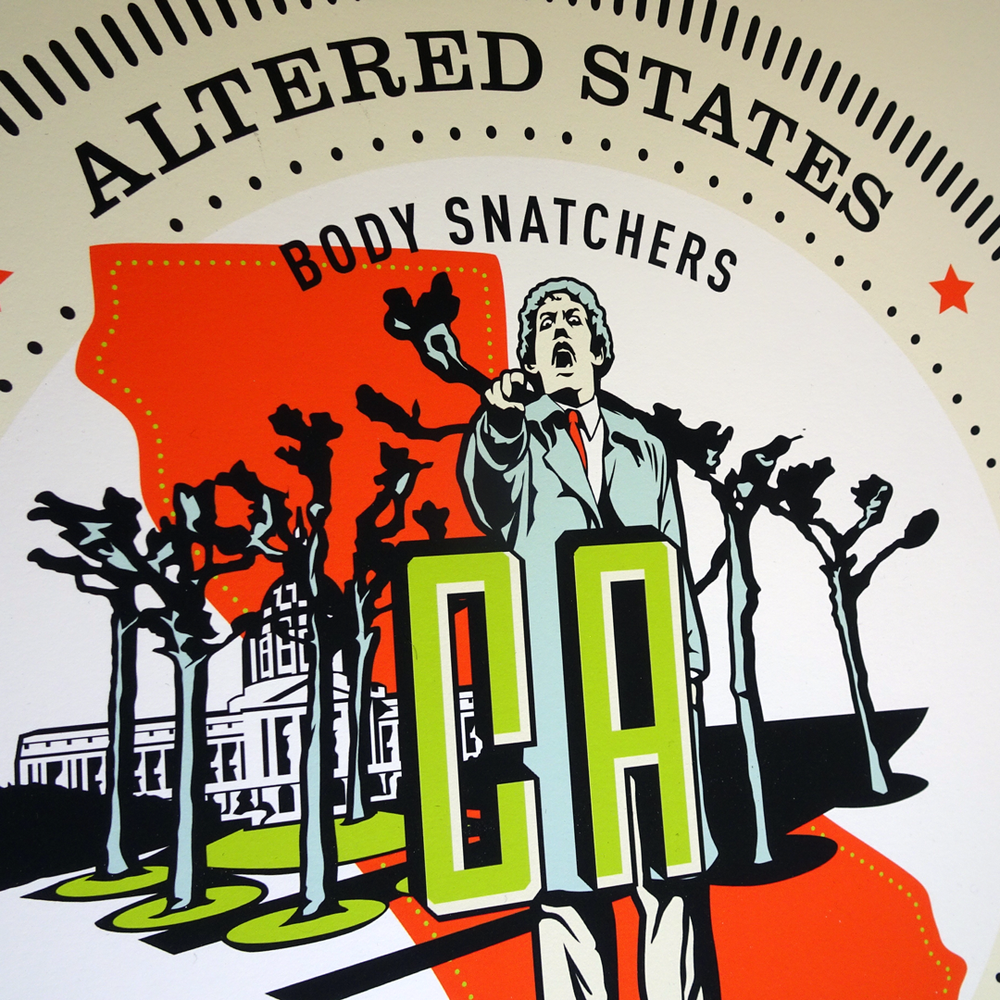 State seal for San Francisco, California featuring Donald Sutherland from  Invasion of the Body Snatchers .