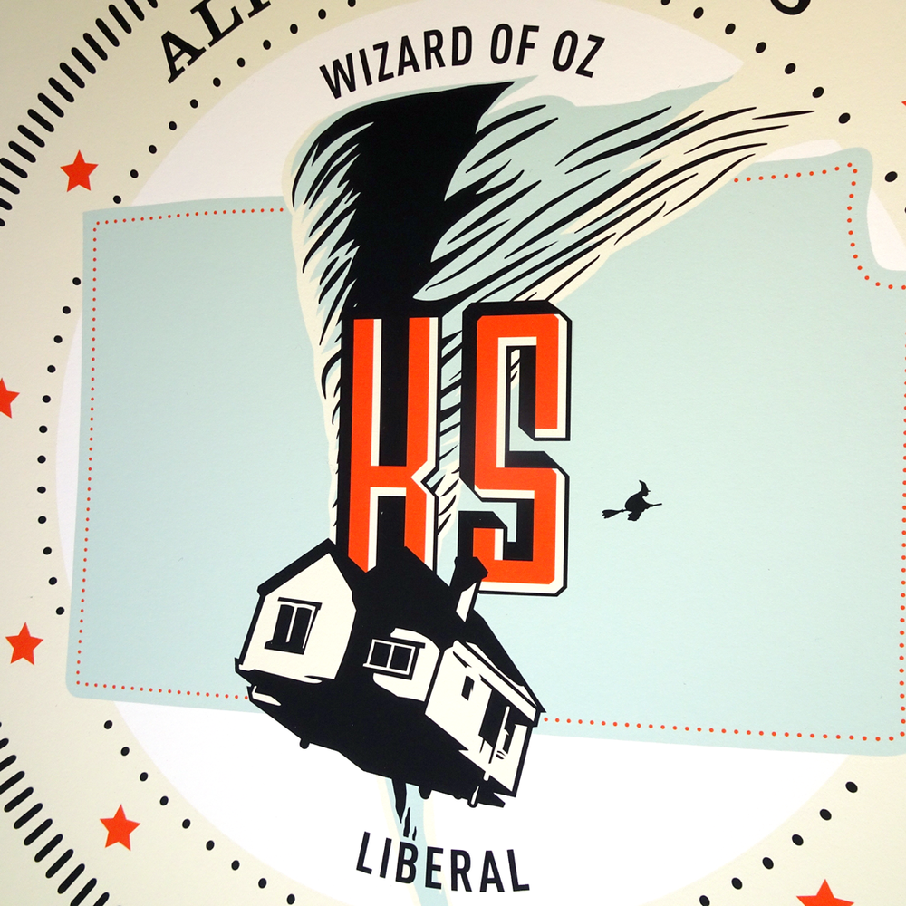 State seal for Liberal, Kansas featuring Dorothy's house mid-flight from   The Wizard of Oz  .
