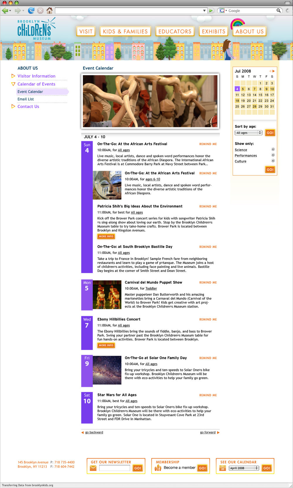 An example of a content page with the interior navigation.