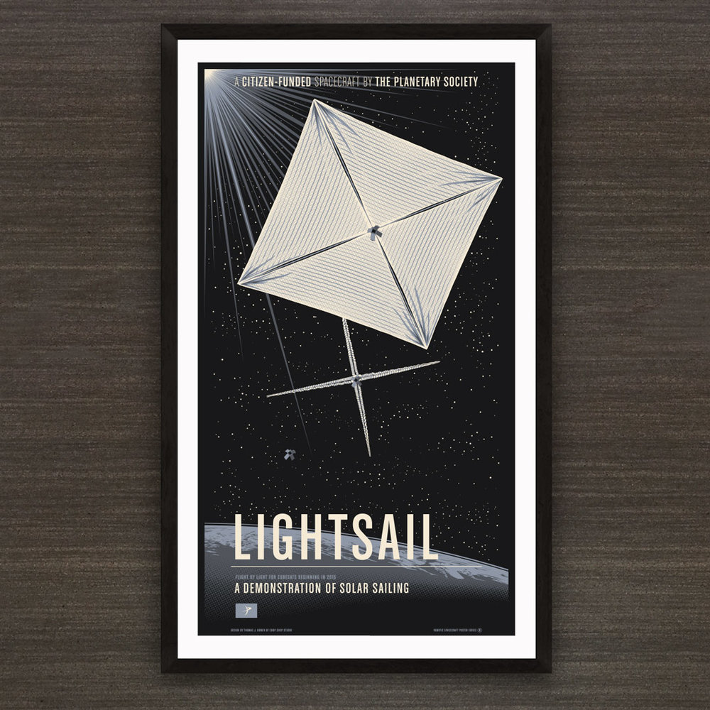 "The original limited edition LightSail mission poster. 3-color screen print on 20""x36"" Strathmore black."