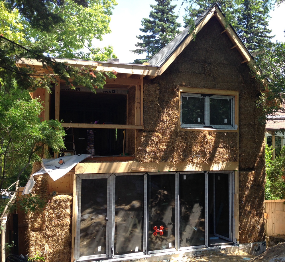 Straw bale walls without plaster