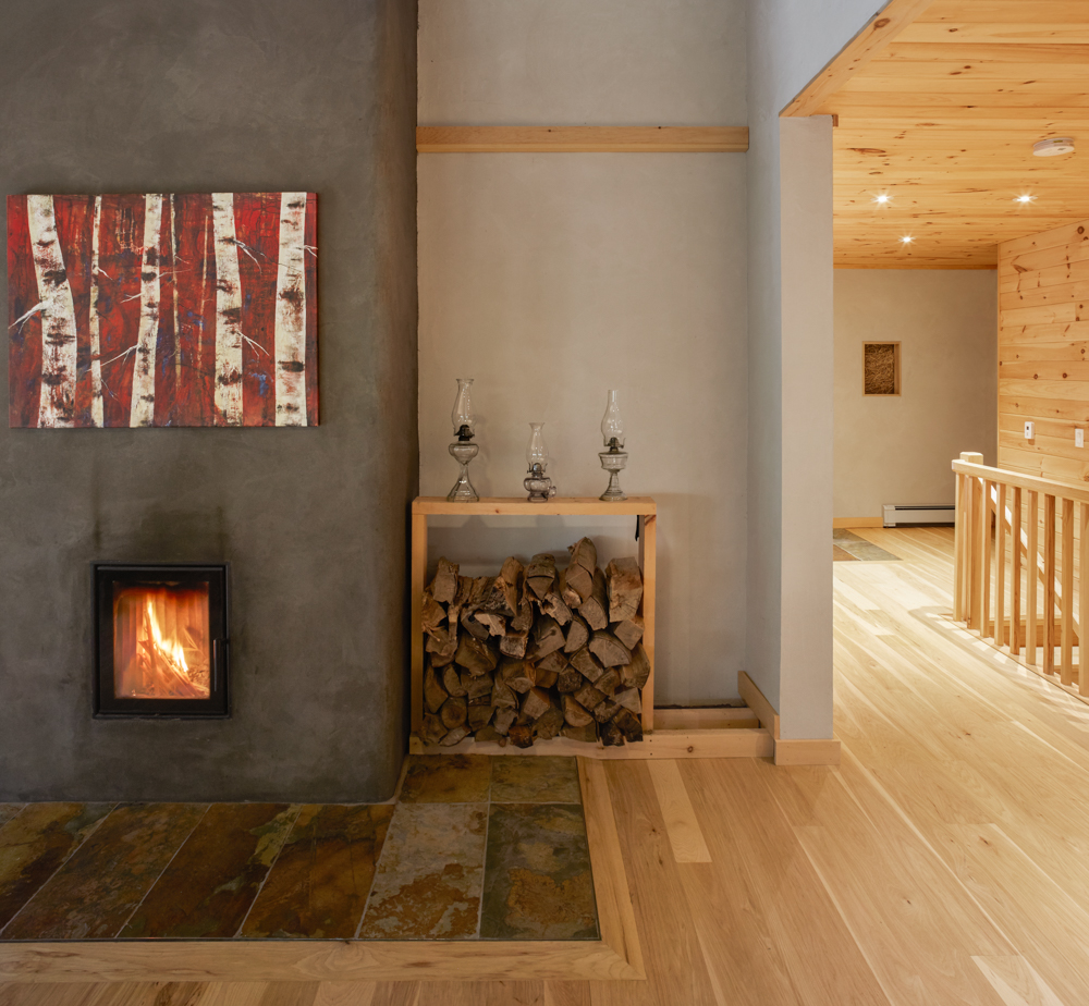 Water heating fireplace