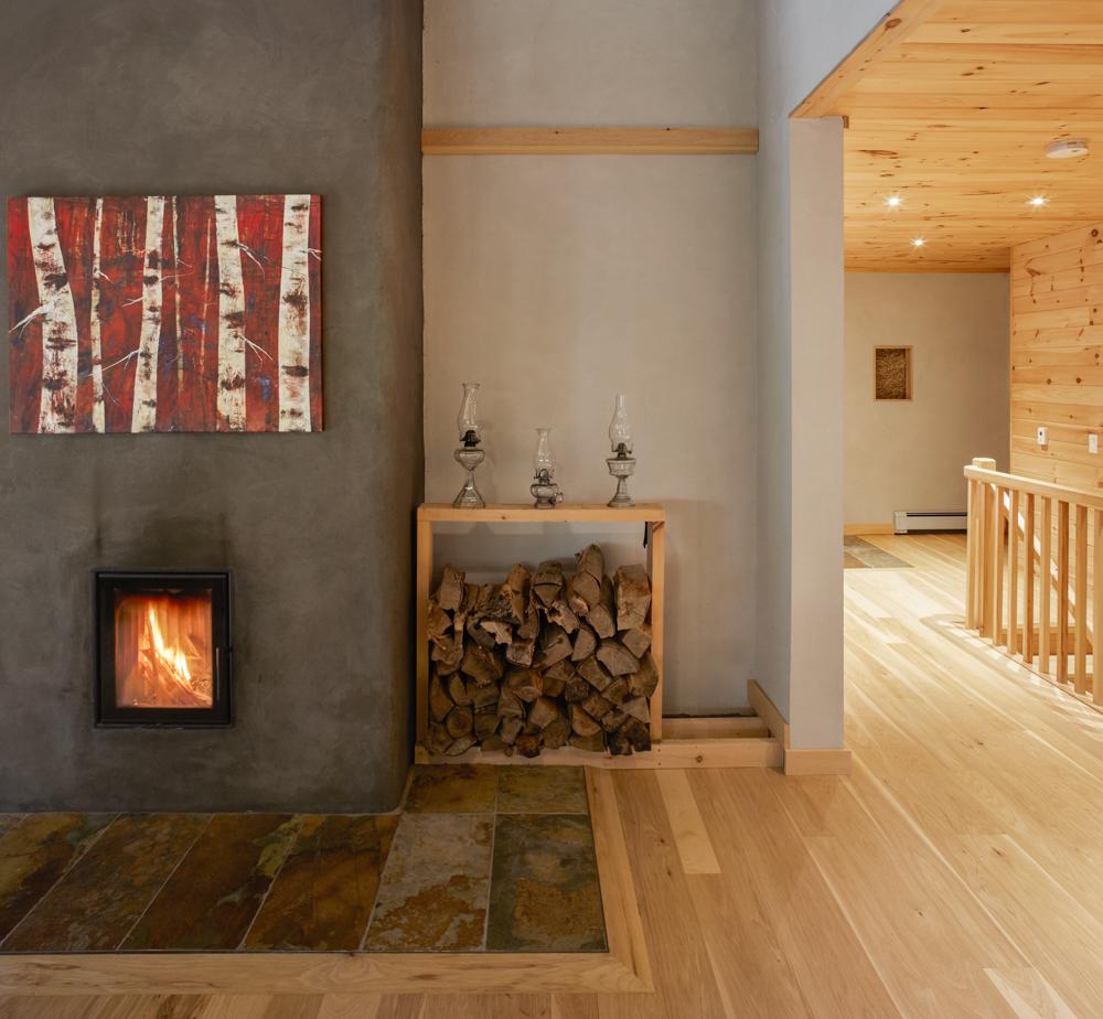 Water heating fireplace