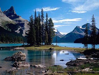World famous Spirit Island, Jasper National Park.