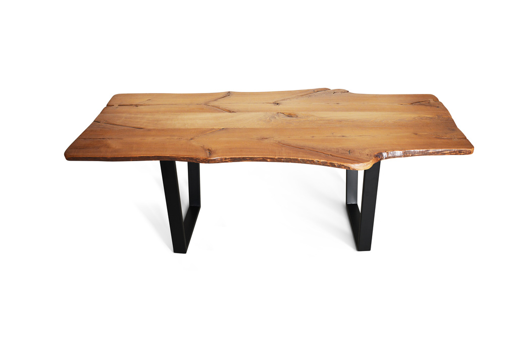 Etz U0026 Steel King Ash Live Edge Table Black Base 1