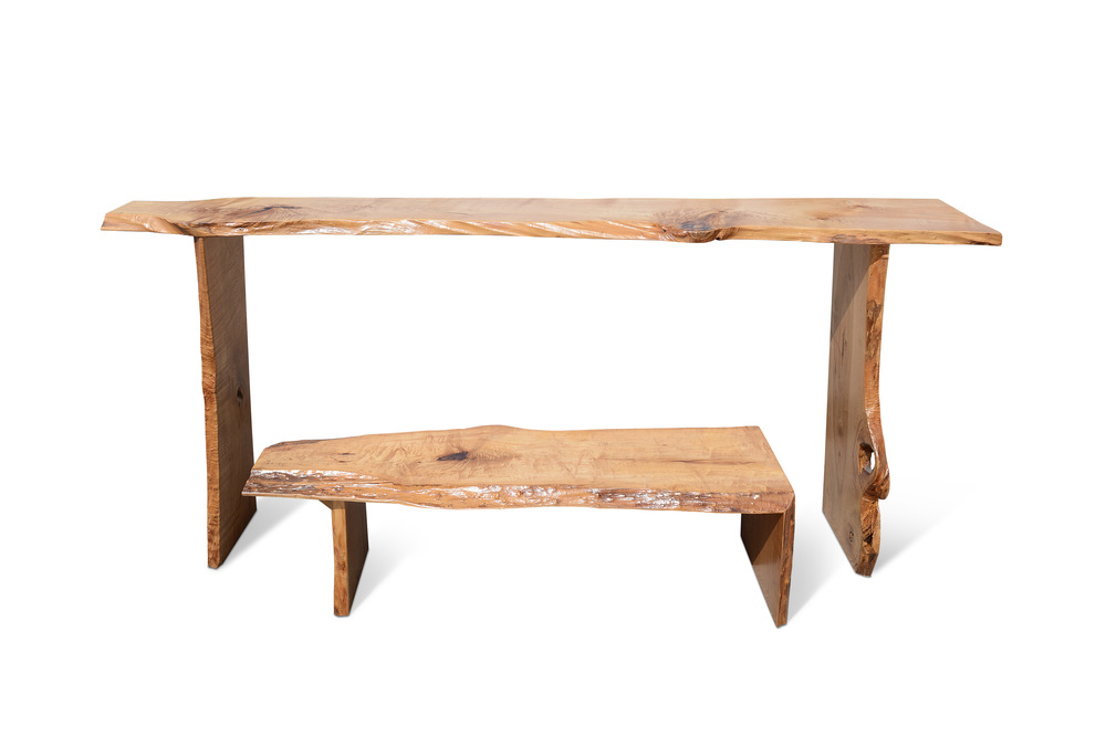 Etz & Steel Admirals Live Edge Bench and Console 1.jpg