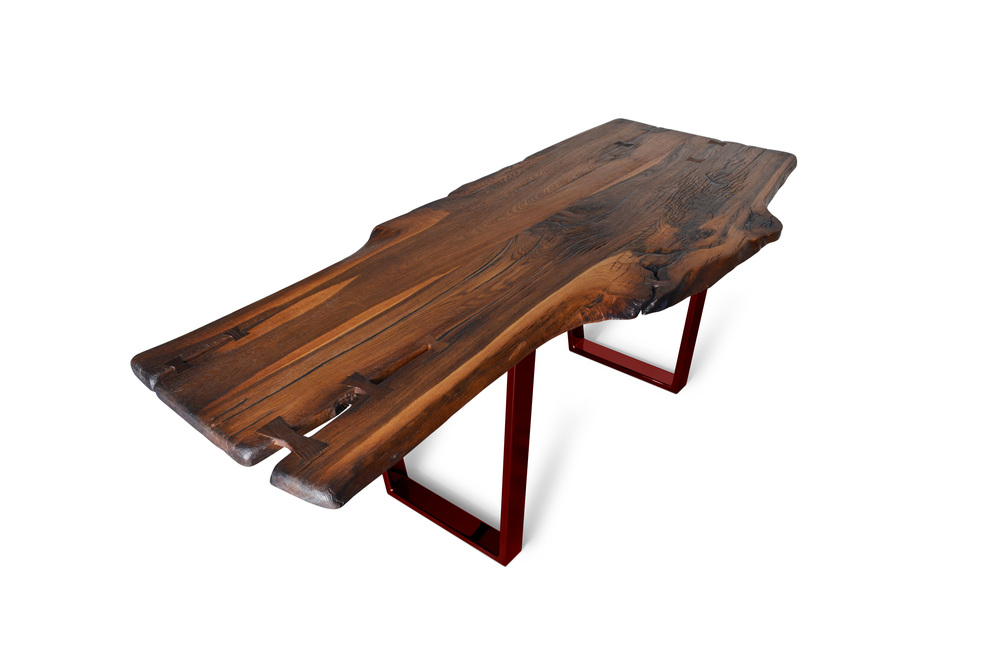 Etz & Steel Brown Beauty Live Edge Table Lollypop Red Base 1.jpg