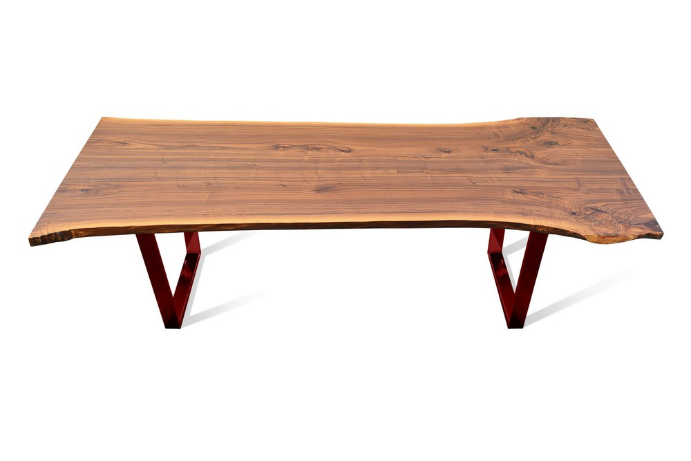 Etz & Steel Hermes Walnut Live Edge Table Red Base 1.jpg