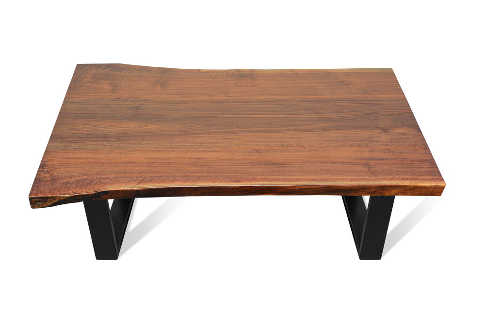 Etz & Steel Iris Live Edge Walnut Coffee Table Black Base 1.JPG