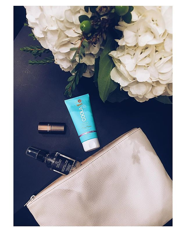 "To finish out our summer purse essentials series, we invited our friend Rebekah from @rbspastudio to send us her must have go to items in the warmer months of the year. She's a total boss babe who specializes in skin care and all things natural beauty. Here's what she had to say  _______  1) Coconut + Mint Cooling Mineral Mist by Little Barn Apothecary for a little freshen up. I LOVE this stuff, because it smells like Summertime, feels so cool and refreshing on my skin and is exactly what I am looking for post workout, pre-dinner plans at the end of my day, in the middle of a warm day. Plus, it's ingredients are pure and simplistic, with organic aloe, Japanese mint, and sea minerals. @littlebarnapothecary  2) Rosehip & Lemongrass Lip Balm by Eminence to keep dry lips at bay. This lip balm is a one-stop moisture boost, protection from the sun with SPF 15 - courtesy of natural zinc oxide, and I appreciate the smooth, rich texture and the soothing smell too. @eminenceorganics 3) Sun protection by Coola ('cause I am an Esthetician and if I wasn't prepared with SPF, I'm really missing the mark ;)). I like to be equipped with Coola Suncare's mineral SPF. I love the ""farm to face"" approach of this product line, it's high performance, non-greasy, and loaded with organic and skin nourishing ingredients. @coola"