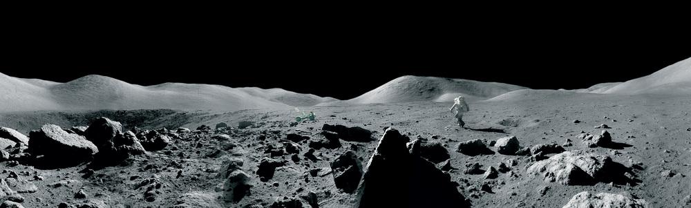 Harrison Schmitt exploring the Moon's Taurus-Littrow Valley  By Eugene Cernan