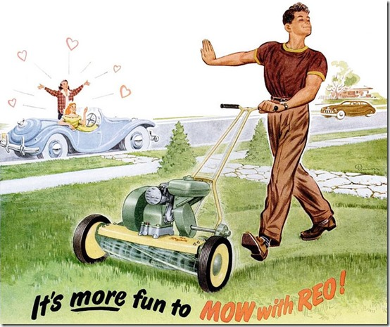 Vintage Reo lawnmower ad from 1950, mowing the lawn[4].jpg