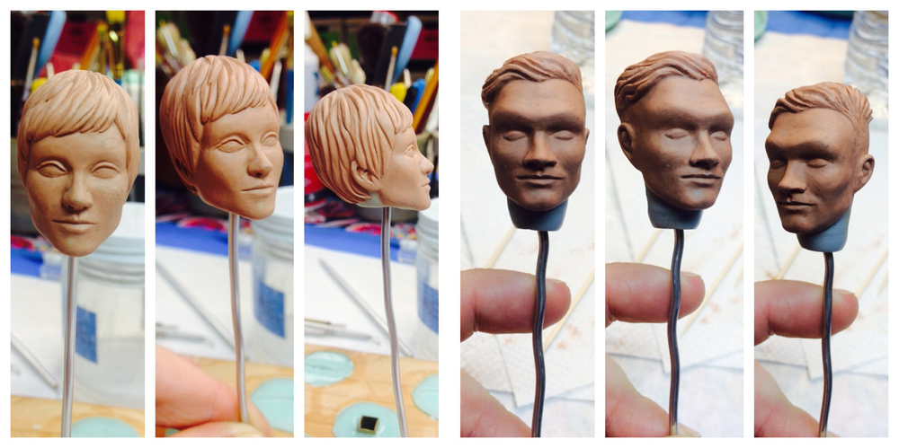 Employee head sculpts, Robot Chicken. Height: 1.5 inches, chavant.