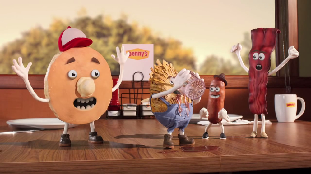 "Denny's  ""Meet the Slams"" rod puppetry commercial spots, 2014"