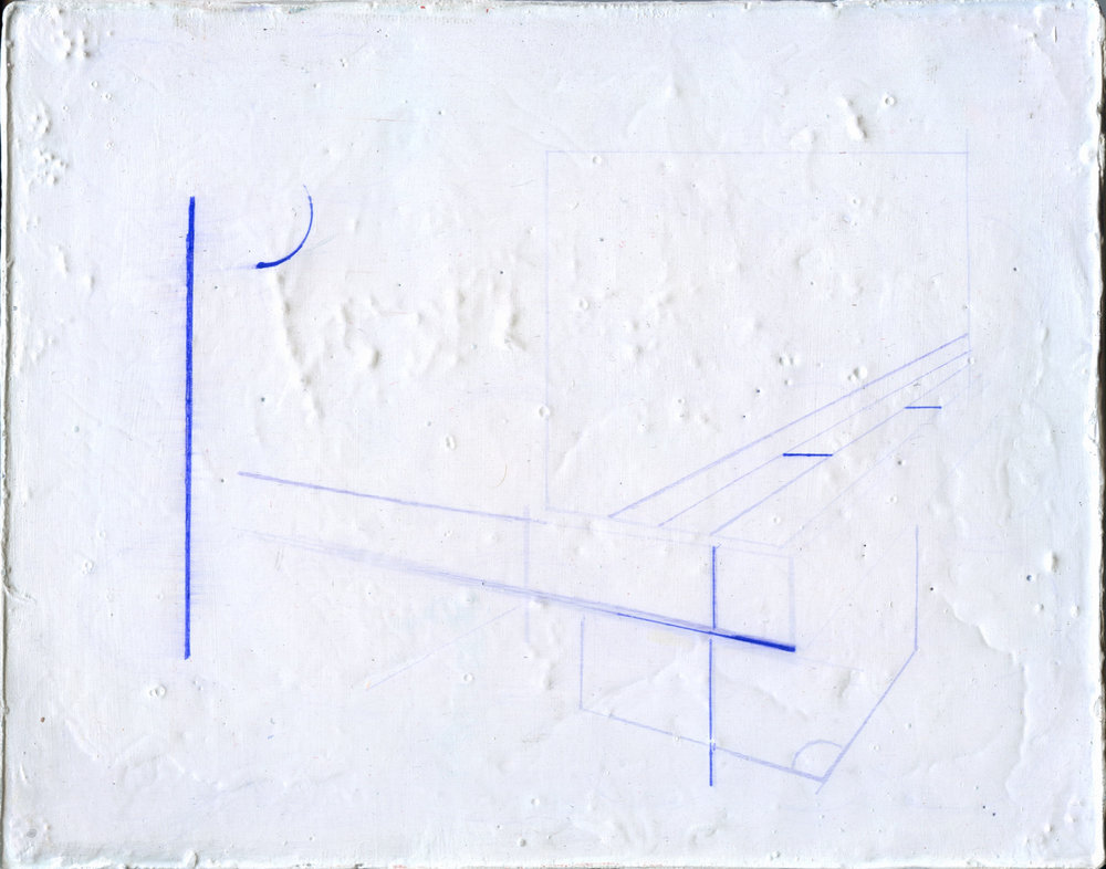 """8x12"""" Gesso, Spackle, Joint Compound, and Blue Ball Point Pen on Canvas"""