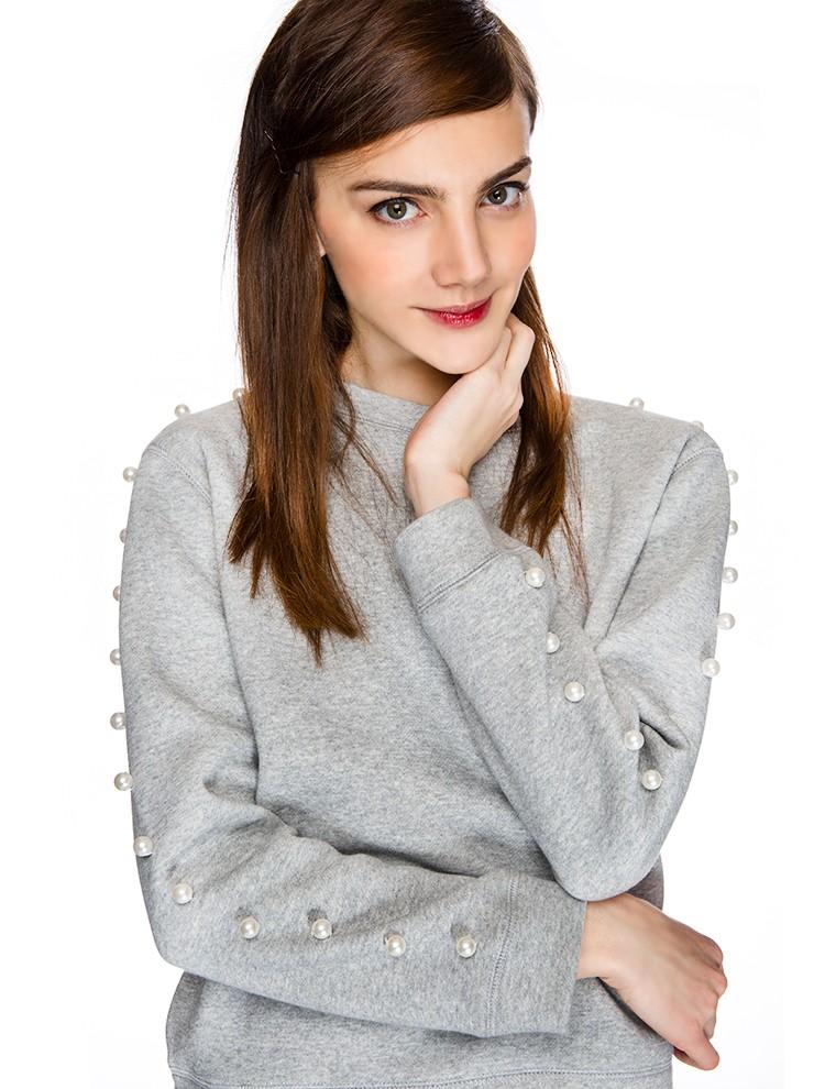 Pearl Sleeve Sweatshirt at PixieMarket