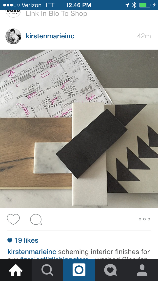 Yep... we screen cap instagrams all of the time for inspiration...do you????  LOVE the warmth of the wood mixed with the modern yet chicness of the marble and tile Kirsten Marie Inc.