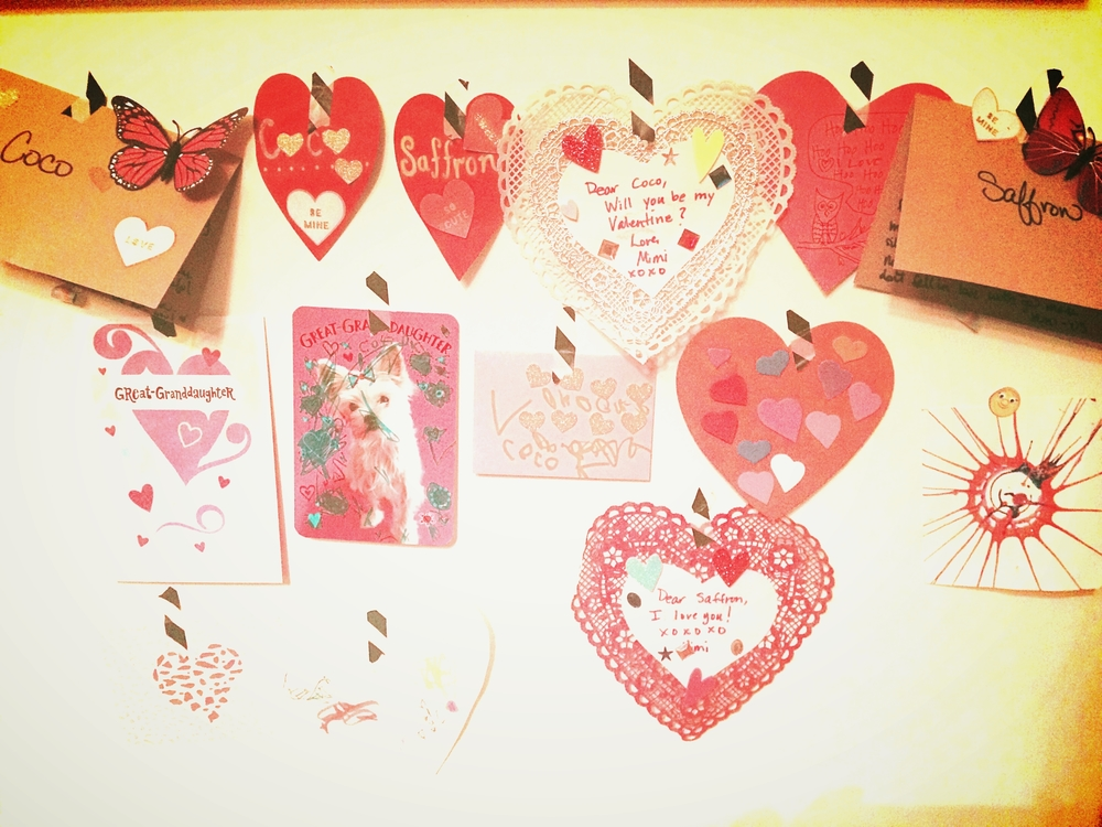 I let the days Valentines hang on the wall for a day or 2 after to let the loving feeling linger a bit or until they run by and rip them down.