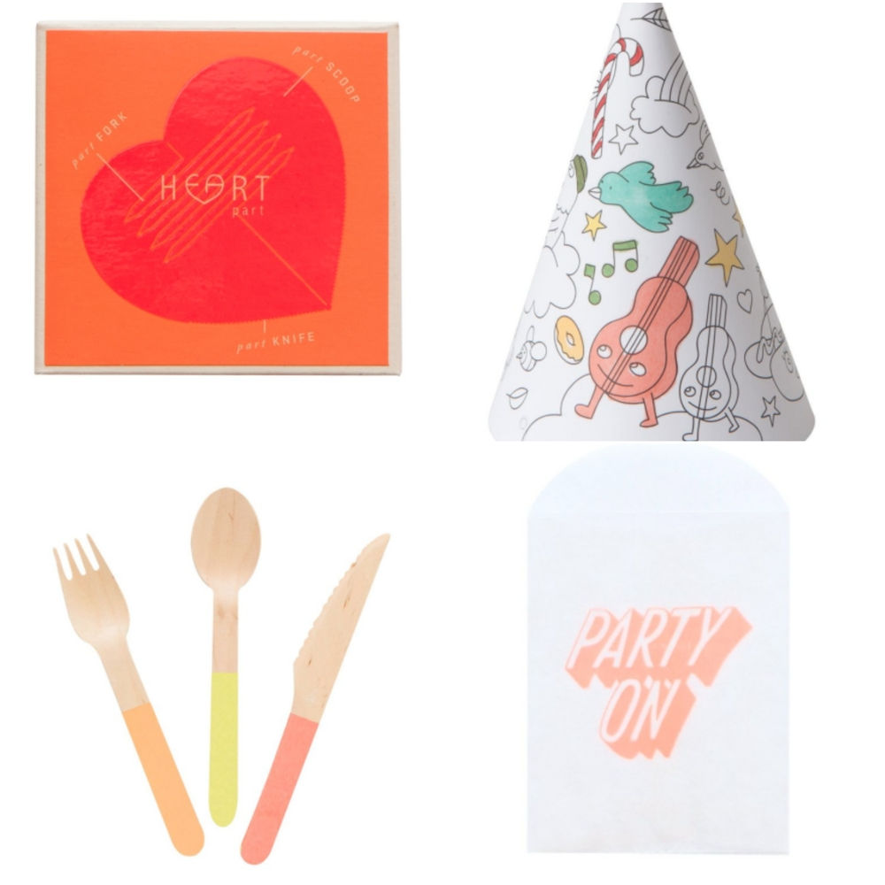 ONE- Heart Cutlery TWO- Color Your Own Hat THREE- Neon Wooden Cutlery FOUR- Treat Bag