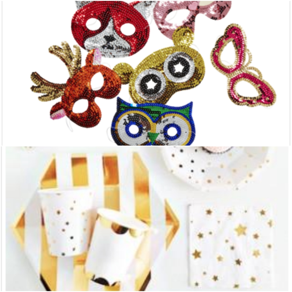 ONE- Sequin Animal Masks TWO- Gold Tableware