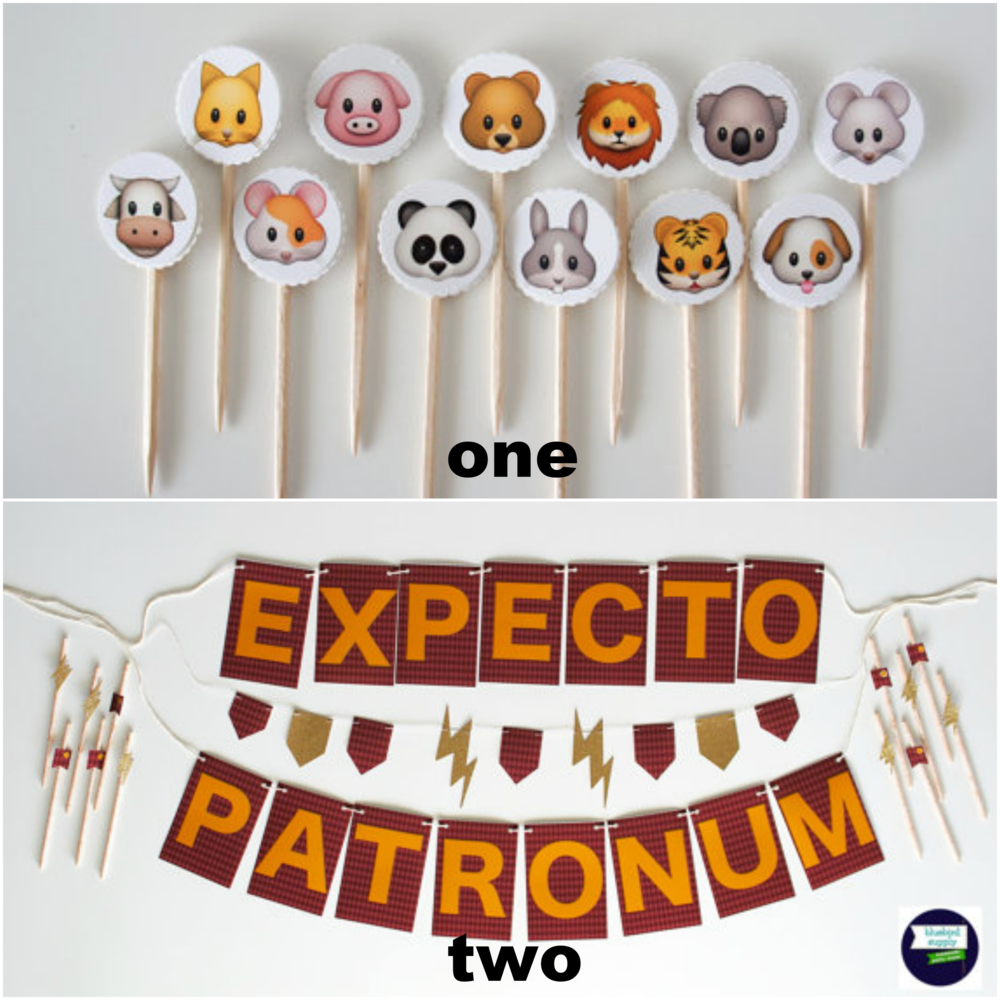 ONE- Emoji Toppers TWO- Harry Potter Party Kit