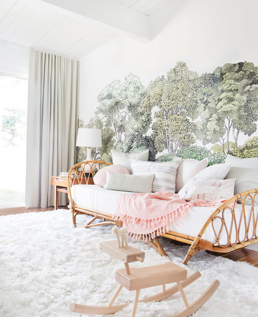 LOVE the idea of having a focal wall mural like the one in Emily Henderson's old nursery.