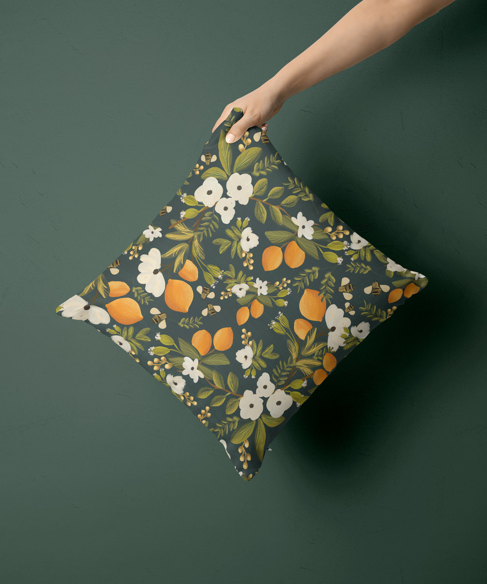 citrus botanical pillow in emerald green
