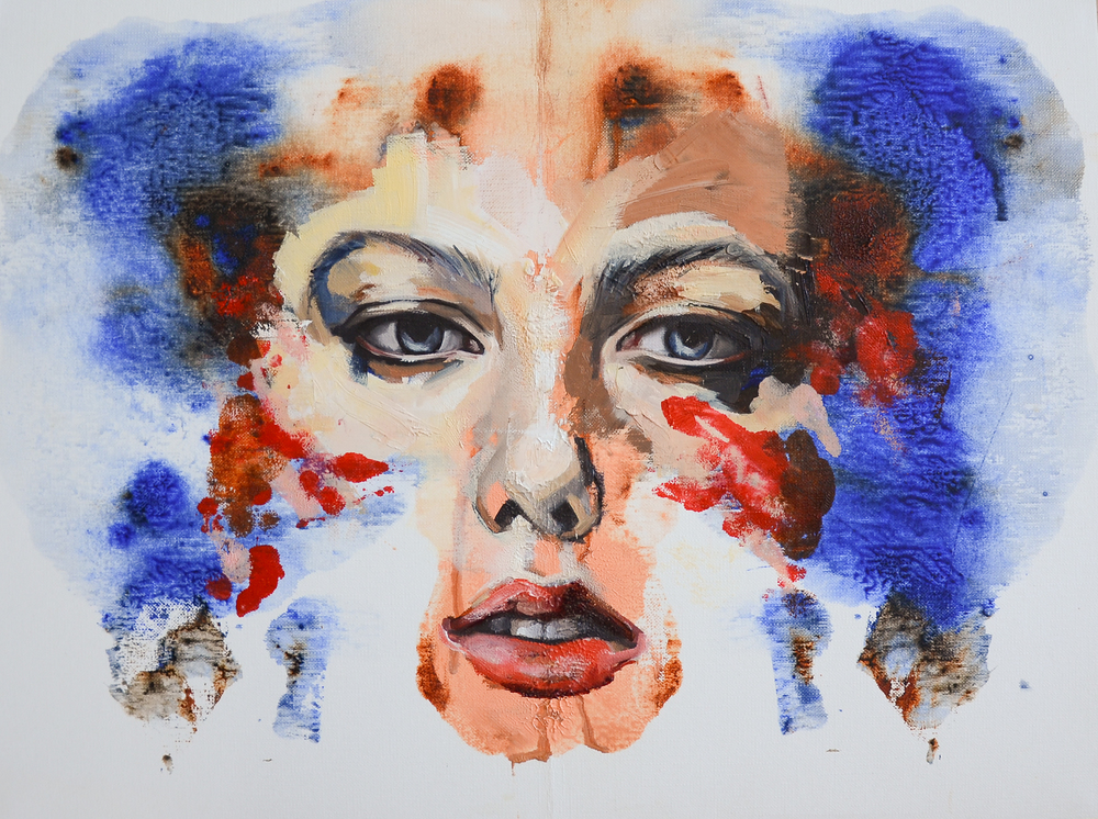 Face print II, oil on canvas paper, 47x56cm