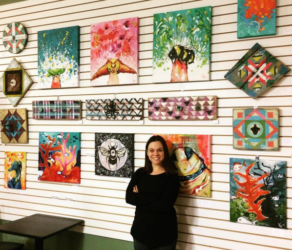 Here I have my artwork on display at The Attic Coffee Shop in Green Bay in 2017.