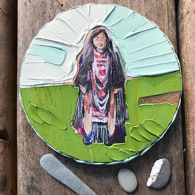 "Portrait of an Apache girl on a 5"" round canvas. Gotta love modeling paste. ❤️"