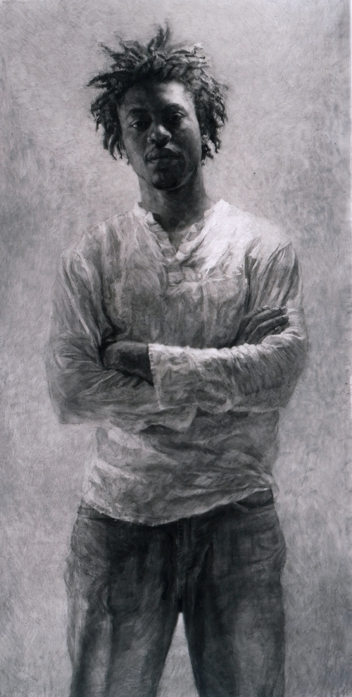"""Normal   0           false   false   false     EN-US   X-NONE   X-NONE                                        MicrosoftInternetExplorer4                                           Portrait of Tomiwa with Arms Crossed   charcoal on mylar, h 80.5 w 41.5 inches