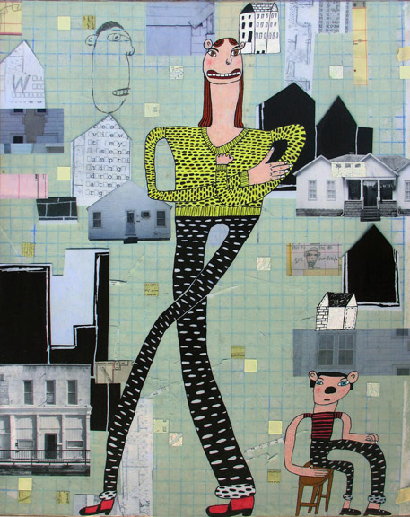 Back Home   mixed media on panel, h 30  w 24 inches