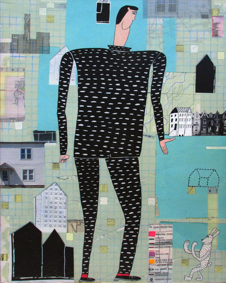 Zeke   mixed media on panel, h 30  w 24 inches