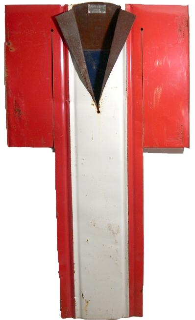 Kimono #1938   found steel drum, h 62 w 35 d 4 inches /  SOLD