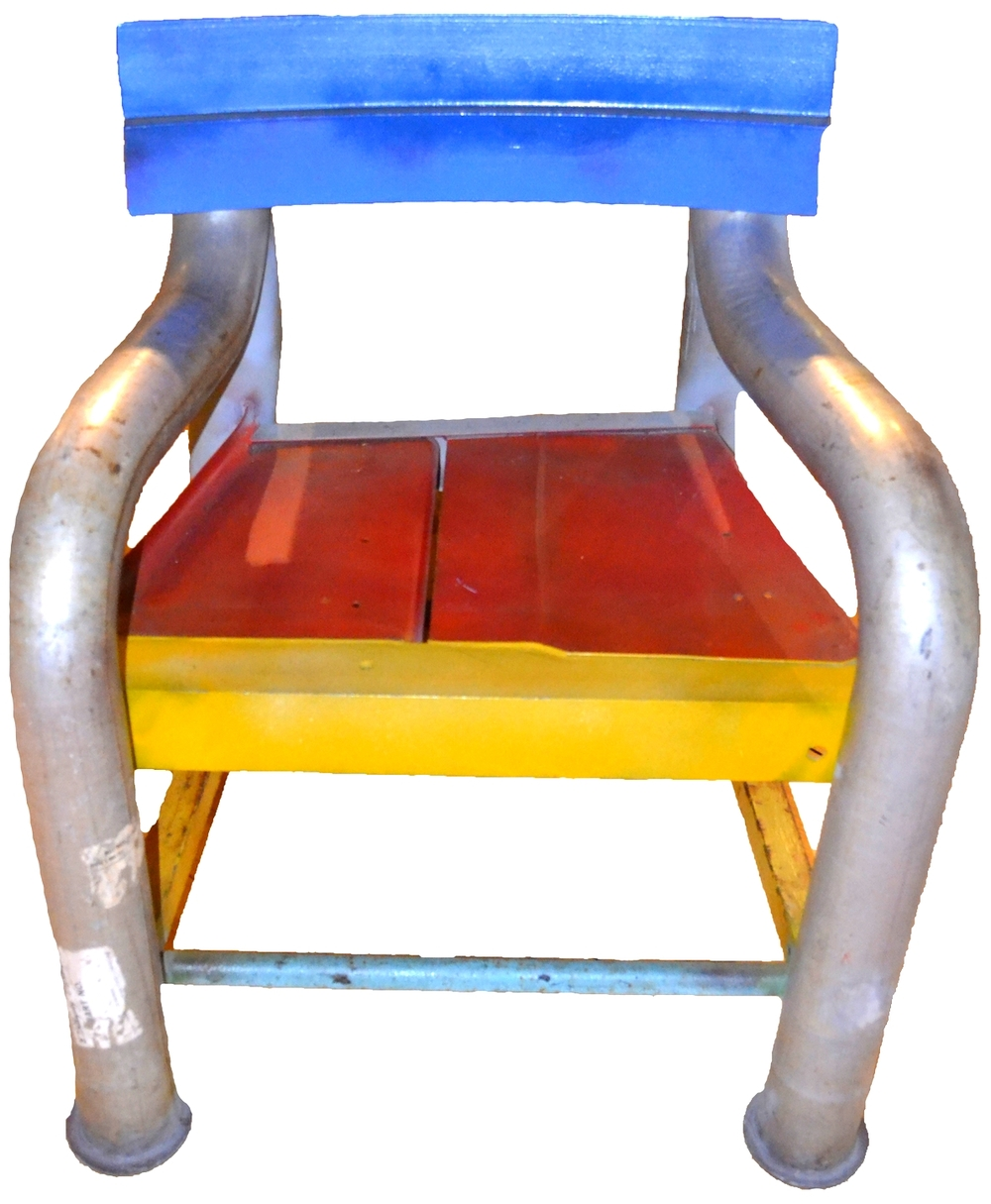 Blue Back Bus Chair   welded found steel, enamel paint, h 37w 33d 32 inches SOLD
