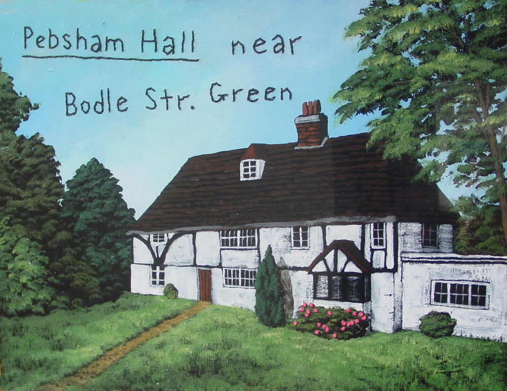 Pebsham Hall   oil, enamel, stitchery on paper, h 14.5  w 18 inches