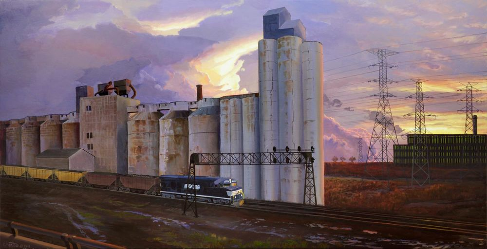 Grain Elevators, Eastbound Coal   oil on panel, h 20w 39 inches SOLD