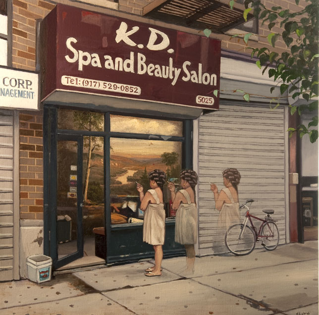 Hairdresser in Washington Heights   oil on linen, h 24  w 24 inches