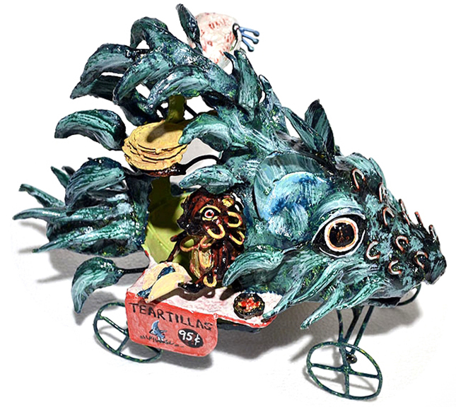 Porcupines Emotional Teartilla Stand   welded metal, enamel paint, h 10 w 10 d 14 inches