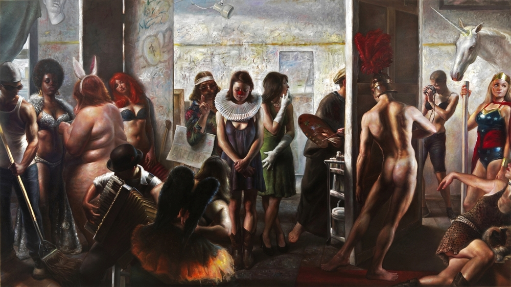 L'Atelier    oil on canvas,  76X136 inches |  SOLD